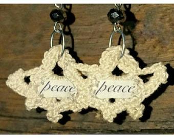 Bohemian Crochet Earrings (PEACE) - Boho Earrings - Dangle Earrings - Handmade Earrings - Bohemian Jewelry