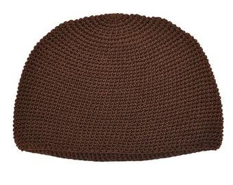 Brown Kufi Skull Cap - Crocheted Beanie Hat - Fair Trade