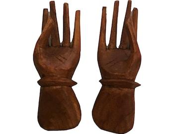 Set of 2 Wood Carved Miniature Hands - Wood Sculpture - Wooden Hands Sculpture - Wood Hands - Home Décor