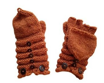 Dark Orange Wool Knit Mittens with Wood Buttons - Hand Warmers - Fingerless Gloves - Knitted Gloves