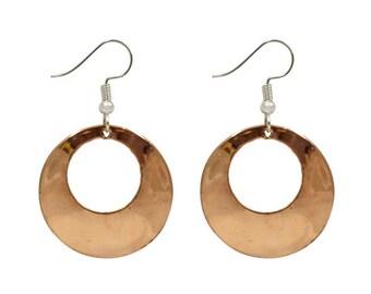 Copper Hoop Earrings - Boho Earrings - Dangle Earrings - Ethnic Earrings - Bohemian Jewelry