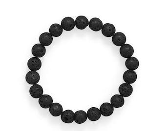Black Lava Stretch Bracelet - Lava Bead Bracelet - Mens Bracelet - Mens Jewelry
