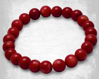 Red Coral Gemstone Bracelet - Beaded Bracelet - Stretch Bracelet - Gemstone Jewelry
