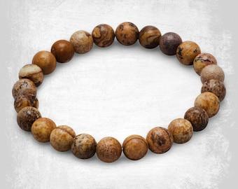 Picture Jasper Gemstone Bracelet - Beaded Bracelet - Stretch Bracelet - Gemstone Jewelry