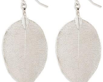 Silver Natural Leaf Drop Earrings - Boho Earrings - Plant Earrings - Silver Earrings - Bohemian Jewelry