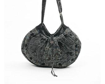Black Crossbody Bag - Sling Bag - Boho Bag - Handmade Bag