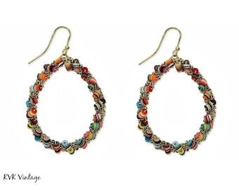 Confetti Cluster Teardrop Earrings - Boho Earrings - Dangle Earrings - Festival Earrings - Bohemian Jewelry