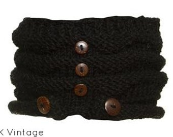 Black Wool Knit Headband with Wood Buttons - Knitted Headband - Wool Headband - Womens Headband