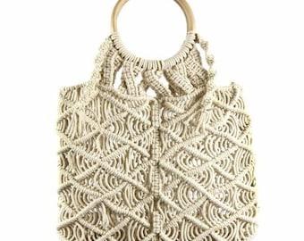 Macramé Bag with Light Wooden Handle - Top Handle Bag - Boho Bag - Handmade Bag