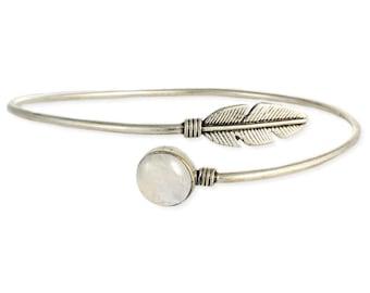 Stone & Silver Feather Wrap Armband - Boho Bracelet - Armbands - Bohemian Jewelry