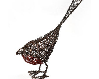 Wrapped Wire Robin - Bird Wire Sculpture - Wire Wrapped - Wire Art