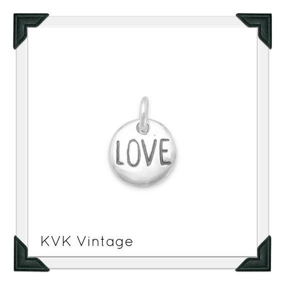 """Oxidized """"Love"""" Hand-Stamped Sterling Silver Charm"""