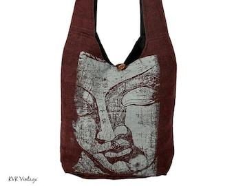 Brown BUDDHA Crossbody Bag - Sling Bag - Boho Bag - Handmade Bag