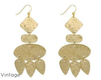 Geometric Textured  Chandelier Gold Earrings - Boho Earrings - Dangle Earrings - Ethnic Earrings - Bohemian Jewelry