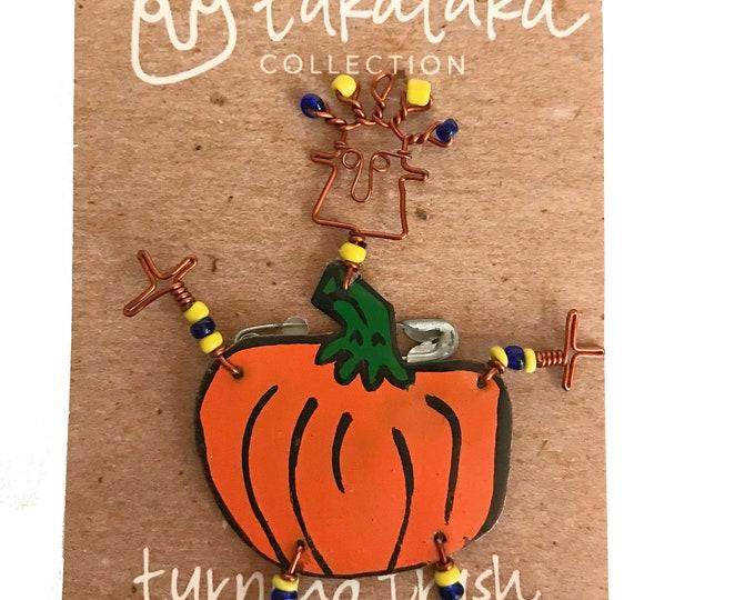 Featured listing image: Dancing Pumpkin Girl Copper Wire Pin - Pumpkin Pin - Halloween Jewelry - Halloween Pins
