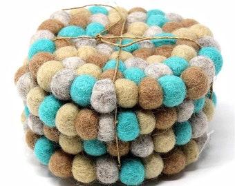 Sky Blue Felt Ball Coasters Set of 4 - Wool Coasters - Fabric Coasters - Fair Trade - Handmade Coasters
