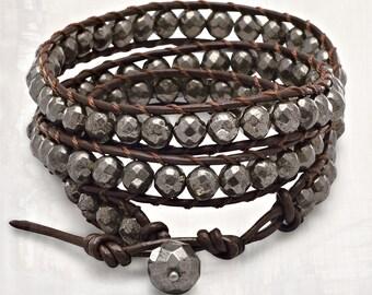 Pyrite Wrap Bracelet -  Pyrite Bracelets - Bohemian Jewelry - Woven Bracelets - Leather Bracelets