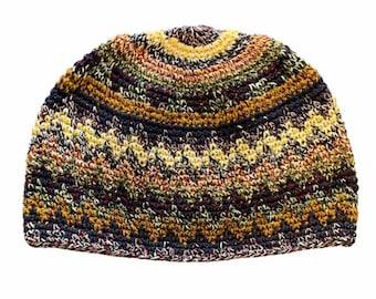 Zig Zag Earth Kufi Skull Cap - Crocheted Beanie Hat - Fair Trade