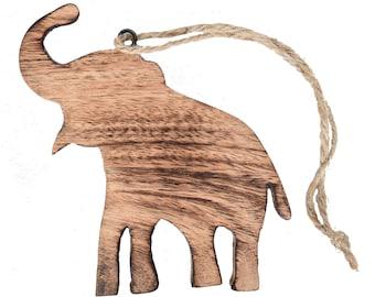Wooden Elephant Ornament - Home Décor - Carved Wood Elephant - Fair Trade - Home Décor