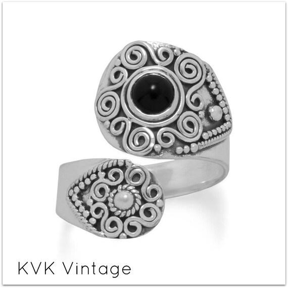 Oxidized Black Onyx Wrap Ring - Wrap Ring - Spoon Ring