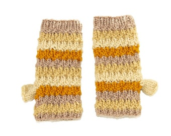 Fall Mix Wool Knit Hand Warmers - Hand Warmers - Fingerless Gloves - Knitted Gloves