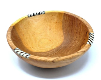 Rustic Olive Wood Bowl with Bone Inlay 6 inch - Wooden Bowl - Fair Trade - Olive Wood Gift