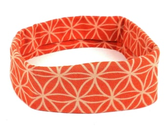 Orange Flower Wide Headband - Boho Headband - Headbands for Women - Wide Headband - Yoga Headband