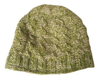 Green & White Wool Knit Hat - Handmade Hat - Knit Hat - Womens Knit Hat - Wool Hat