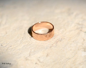 8mm Solid Copper Hammered Band Ring - Boho Ring - Copper Ring - Copper Band Ring - Bohemian Jewelry