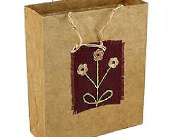 3 Flowers Gift Bag - Autumn Gift Bag - Reusable Bag - Gift Wrap - Eco Friendly Bag