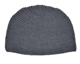 Gray Kufi Skull Cap - Crocheted Beanie Hat - Fair Trade