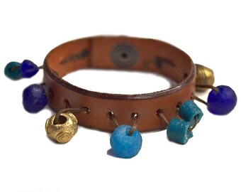 Leather Cuff Charm Bracelet - Boho Bracelet - Cuff Bracelets - Wide Leather Cuff - Bohemian Jewelry