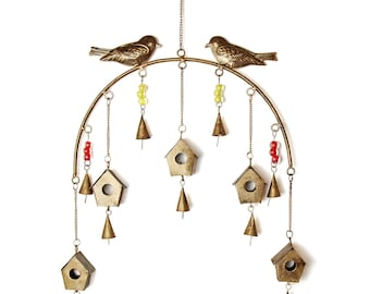 Bird Chime Recycled Iron and Glass Beads  - Wind Chimes - Garden Decoration - Fair Trade
