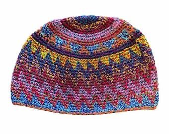 Multi Color Zig Zag Kufi Skull Cap - Crocheted Beanie Hat - Fair Trade