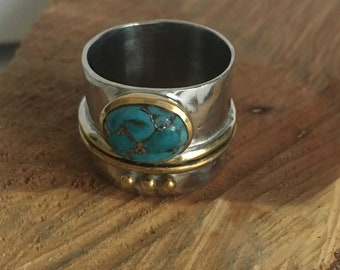 Turquoise Hammered Ring - Band Ring - Bohemian Jewelry - Statement Ring - Sterling Silver