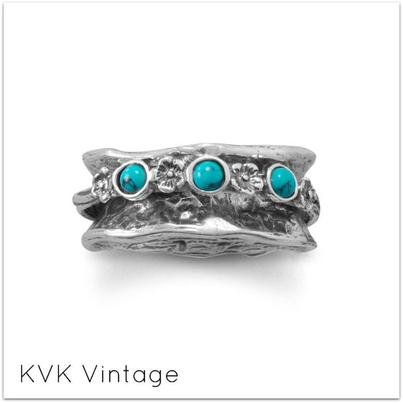 Oxidized Spin Ring with Reconstituted Turquoise Stones - Spin Ring