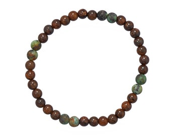 African Turquoise & Bronzite Beaded Stretch Bracelet  - Boho Bracelet - Mens Bracelet - Mens Jewelry