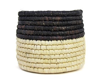 Dried Grass Basket Black and Natural - Woven Basket - Storage Basket - Baskets - Handmade Basket