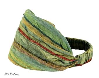Green Stripe Headband - Boho Headband - Bohemian Headband - Headbands for Women - Hippie Headband