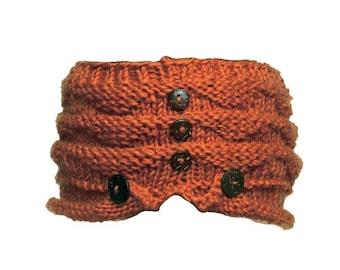 Orange Wool Knit Headband with Wood Buttons - Knitted Headband - Headbands for Women - Wool Headband - Wide Headband