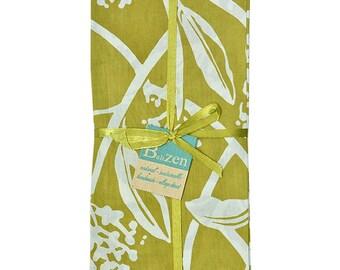 Frangipani Lime Green Silk Screen Napkins Sets of 4 - Fabric Napkins - Fair Trade - Fabric Napkins - Cotton Napkins - Kitchen &  Dining