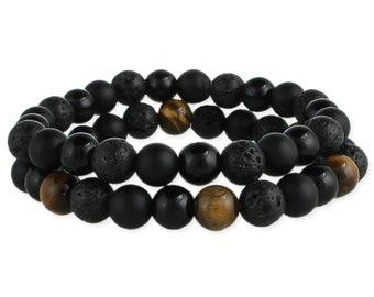 Tigers Eye & Black Bead Bracelet Set - Boho Bracelet - Mens Bracelet - Beaded Bracelet