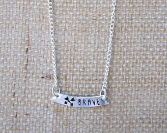 Silver Bar Necklace (BRAVE) - Inspiring Necklace - Minimalist Necklace - Bar Pendant