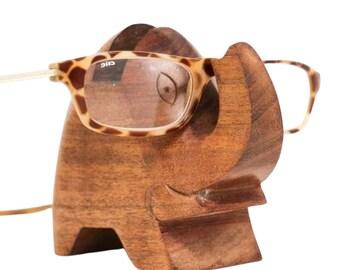 Elephant Wood Eyeglass Holder - Glasses - Wooden Eye Glass Holder - Fair Trade - Home Décor