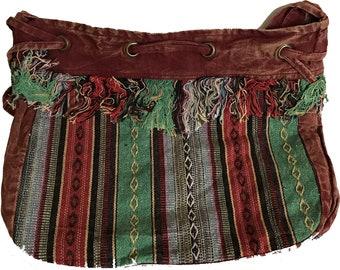 Maroon Tibetan Drawstring Bag -  Fair Trade Bags - Bohemian Shoulder Bag