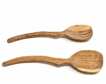 Curved Handle Olive Wood Serving Set - Wood Serving Spoons - Serving Utensils - Wooden Salad Spoons