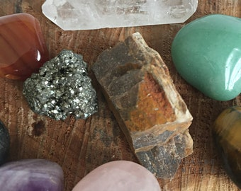 10 Piece Gemstone Crystal Set - Metaphysical Crystals - Healing Crystal Set - Natural Gem Stones