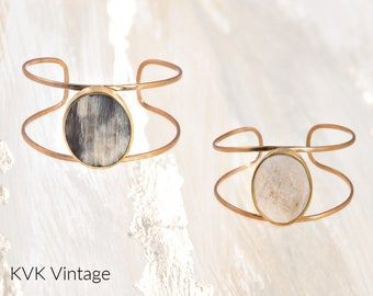 Horn Brass Cuff Bracelet - Cuff Bracelets - Boho Bracelet - Real Horn Bracelet - Bohemian Jewelry