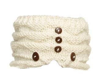 White Wool Knit Headband with Wood Buttons - Knitted Headband - Headbands for Women - Wool Headband - Wide Headband