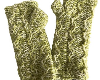 Green Mix Hand Knitted Hand Warmers - Hand Warmers - Fingerless Gloves - Knitted Gloves
